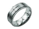 Chisel Titanium Grooved Ridged Edge 8mm Satin And Polished Weeding Band style: TB187