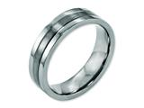 <b>Engravable</b> Chisel Titanium Grooved 6mm Brushed And Polished Wedding Band style: TB188
