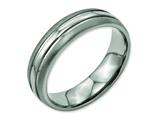 <b>Engravable</b> Chisel Titanium Grooved 6mm Brushed And Polished Wedding Band style: TB190