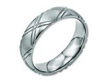 <b>Engravable</b> Chisel Titanium Criss-cross Design 6mm Brushed And Polished Wedding Band style: TB192