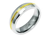 <b>Engravable</b> Chisel Titanium Yellow Ip-plated Grooved 6mm Polished Wedding Band style: TB195