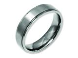 <b>Engravable</b> Chisel Titanium Ridged Edge 6mm Brushed And Polished Wedding Band style: TB196