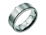 <b>Engravable</b> Chisel Titanium Ridged Edge 8mm Brushed And Polished Wedding Band style: TB198