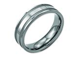 <b>Engravable</b> Chisel Titanium Grooved 6mm Brushed And Polished Wedding Band style: TB202