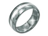 Chisel Titanium Sterling Silver Inlay 8mm Polished Weeding Band style: TB212
