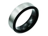 Chisel Titanium Beveled Edge Black Ip-plated 8mm Brushed Center Weeding Band style: TB230