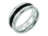 <b>Engravable</b> Chisel Titanium Black Enameled 8mm Polished Wedding Band style: TB233