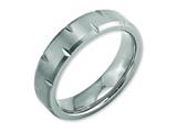 <b>Engravable</b> Chisel Titanium Beveled Edge Notched 6mm Brushed Wedding Band style: TB234