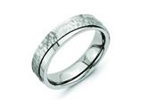 <b>Engravable</b> Chisel Titanium 6mm Ridged Edge Hammered And Polished Wedding Band style: TB238