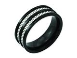 Chisel Titanium 8mm Black Ip-plated With Carbon Fiber Inlay Polished Weeding Band style: TB254