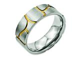 Chisel Titanium Grooved Yellow Ip-plated Mens 8mm Brushed Weeding Band style: TB273
