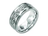 <b>Engravable</b> Chisel Titanium 9mm Scroll Design Brushed And Polished Wedding Band style: TB307