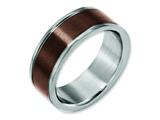<b>Engravable</b> Chisel Titanium Grooved Edge 8mm Brown Ip-plated Brushed/polished Wedding Band style: TB314