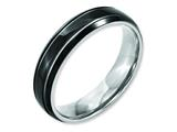 <b>Engravable</b> Chisel Titanium Grooved 6mm Black Ip-plated Polished Wedding Band style: TB317