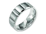 <b>Engravable</b> Chisel Titanium 8mm Grooved Satin and Polished Wedding Band style: TB324