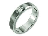 <b>Engravable</b> Chisel Titanium Cross Design 6mm Satin Beveled Edge Wedding Band style: TB334