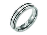 <b>Engravable</b> Chisel Titanium Enameled Flat 6mm Satin and Polished Wedding Band style: TB336