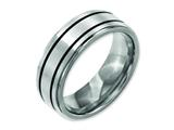 Chisel Titanium Enameled Flat 8mm Satin and Polished Weeding Band style: TB337