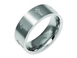 <b>Engravable</b> Chisel Titanium Flat 8mm Laser Design Brushed Wedding Band style: TB33D