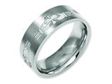 Chisel Titanium Flat 8mm Laser Design Brushed Weeding Band style: TB33N