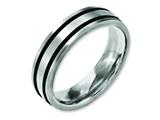 <b>Engravable</b> Chisel Titanium Brushed Enameled Flat 6mm Wedding Band style: TB344