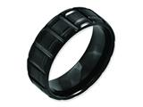 Chisel Titanium Notched Black Ip-plated 8mm Brushed And Polished Weeding Band style: TB354