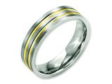 Chisel Titanium Grooved Yellow Ip-plated 6mm Brushed and Polished Weeding Band style: TB361