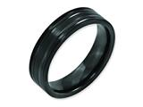 <b>Engravable</b> Chisel Titanium Grooved Black Ip-plated 6mm Brushed And Polished Wedding Band style: TB365
