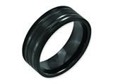 Chisel Titanium Grooved Black Ip-plated 8mm Brushed And Polished Weeding Band style: TB366