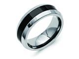 <b>Engravable</b> Chisel Titanium Base W/polished Black Ceramic Center Beveled 7.5mm Wedding Band style: TB382