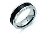 Chisel Titanium Base W/polished Black Ceramic Center Beveled 8mm Weeding Band style: TB384