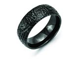 Chisel Titanium Black Ip-plated Hammered 8mm Weeding Band style: TB385