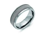 Chisel Titanium Base With Stainless Steel Mesh Center 8mm Weeding Band style: TB386