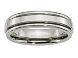 <b>Engravable</b> Chisel Titanium Grooved Edge 6mm Polished Wedding Band style: TB39