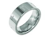 <b>Engravable</b> Chisel Titanium Flat 8mm Laser Design Polished Wedding Band style: TB3D