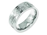 Chisel Titanium Flat 8mm Laser Design Polished Weeding Band style: TB3T