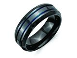 Chisel Titanium Black Ti W/blue Anodized Grooves/beveled Edge 8mm Weeding Band style: TB400