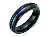 Chisel Titanium Black Multi-colored Anodized 6mm Polished Weeding Band style: TB406
