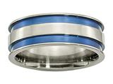 Chisel Titanium With Blue Double Groove 8.5mm Polished Weeding Band style: TB415