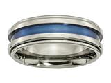 Chisel Titanium With Blue Triple Groove 8mm Polished Weeding Band style: TB416