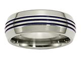 Chisel Titanium With Blue Triple Groove Beveled Edges 8mm Polished Weeding Band style: TB417
