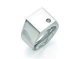<b>Engravable</b> Chisel Titanuim Polished CZ Signet Ring style: TB426
