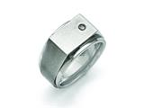 Chisel Titanuim Polished And Brushed CZ Signet Ring style: TB427