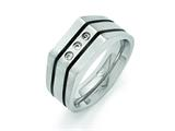 Chisel Titanium Brushed And Polished Black Ip-plated CZs Ring style: TB430