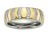 Chisel Titanium Polished Yellow Ip-plated CZs 7mm Ring style: TB431