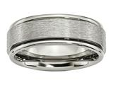 <b>Engravable</b> Chisel Titanium Ridged Edge 8mm Satin And Polished Wedding Band style: TB43
