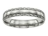 <b>Engravable</b> Chisel Titanium Polished Grooved Criss Cross Design Ring style: TB448