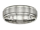 Chisel Titanium Brushed And Polished Ridged Edge Ring style: TB453