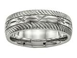 <b>Engravable</b> Chisel Titanium Polished bright Cut Ring style: TB462