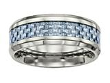 Chisel Titanium Polished Blue Carbon Fiber Inlay Ring style: TB463